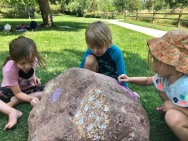 27. Mia, Oliver and Marleigh chalk the rock