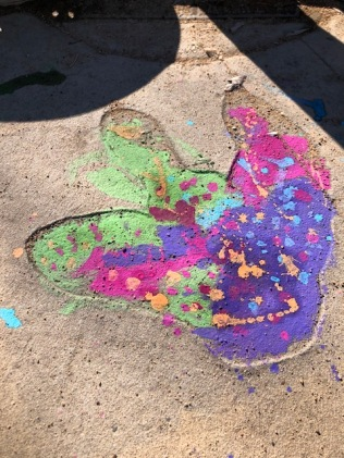 Chalk painted Dino track