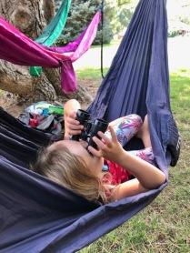 Using binoculars in hammock